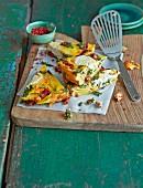 Grünkohl-Tortilla mit Ziegenkäse