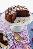 Homemade chocolate cake on a cake stand