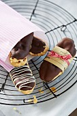 Chocolate eclairs with coffee cream