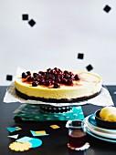 Cherry cheesecake with cherry-pit ice-cream