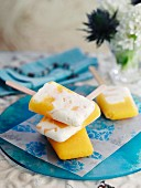 Homemade peach ice lollies