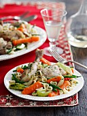 Braised chicken with vegetables and shell pasta
