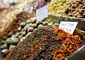 Varieties of loose tea at a street market in Istanbul, Turkey