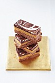 Millionare's shortbread with chocolate base and a caramel filling