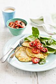 Sweetcorn pancakes with roasted cherry tomatoes, spinach and a mug of tea