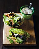 Salad wraps filled with a biltong vegetable medley