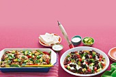 One-pan chicken fajitas and meatball pan pizza