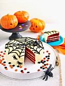 Wacky web halloween cake