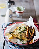 Hake fillets with spicy sweet potatoes