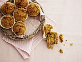 Oat muffins on a wicker tray