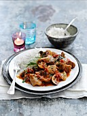 Chicken chasseur with rice