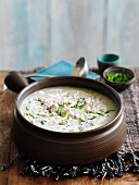 Chicken soup with chives