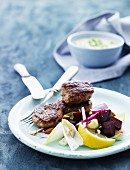 Meatballs with a beetroot salad