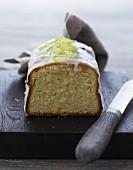 A loaf cake with lime glaze