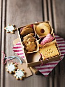 Various biscuits in a cardboard box as a gift