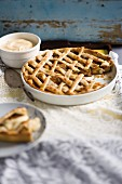 An apple tarts with a lattice topping