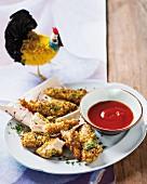 Hähnchensticks mit Mandelpanade & Tomatendip
