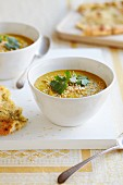 Curried soup with coriander and unleavened bread