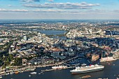 Hamburg from the air: the Queen Mary leaving the harbour