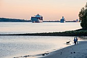 The giant cruise ships leaving the city: idyll on the Elb beach in Hamburg Wittenberge
