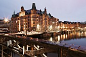 Speicherstadt (warehouse district), Hamburg, in the evening