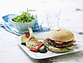 A burger with grilled vegetables