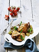 Baked chicken legs with grapes