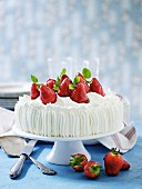 A cream cake with glazed strawberries