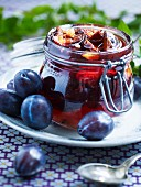 A jar of plum jam