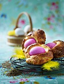 Brioche with coloured Easter eggs