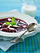 Beetroot soup with mint