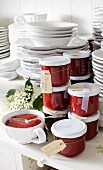 Homemade strawberry jam with elderflowers