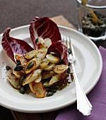 Warm black salsify salad with pumpkin seeds