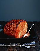 Roast ham with a honey glaze and Cumberland sauce