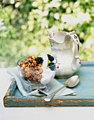 Muesli with yoghurt, apples and blackberries on a garden table