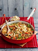 Fried rice with vegetables and pancake strips