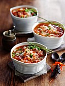 Tomato soup with rice and peas
