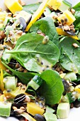 Fruity spinach salad with mango, cucumber, pepper and avocado