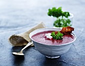 Cream of beetroot soup with parsley