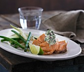 Poached salmon with a dill cream, green beans and fennel