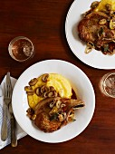 Roasted pork chops with mushrooms and polenta