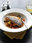 Crispy seabream on ratatouille