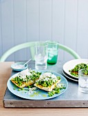 Smashed peas with mint, lemon and pecorino on brushetta