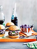 Beef burgers with pickle slaw