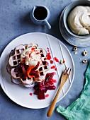 Rhubarb and custard brown sugar waffles