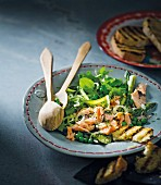 Green vegetables salad with grilled salmon