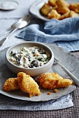 Breaded fish steaks with chowder