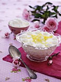 Lemon cream with lemon zest and whipped cream