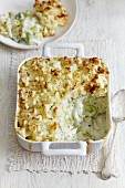 Fish pie with leeks and a potato topping