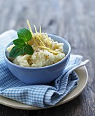 Mashed potato with lemon zest and sesame seeds